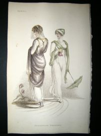 Ackermann 1811 Hand Col Regency Fashion Print. Promenade Dresses 5-36